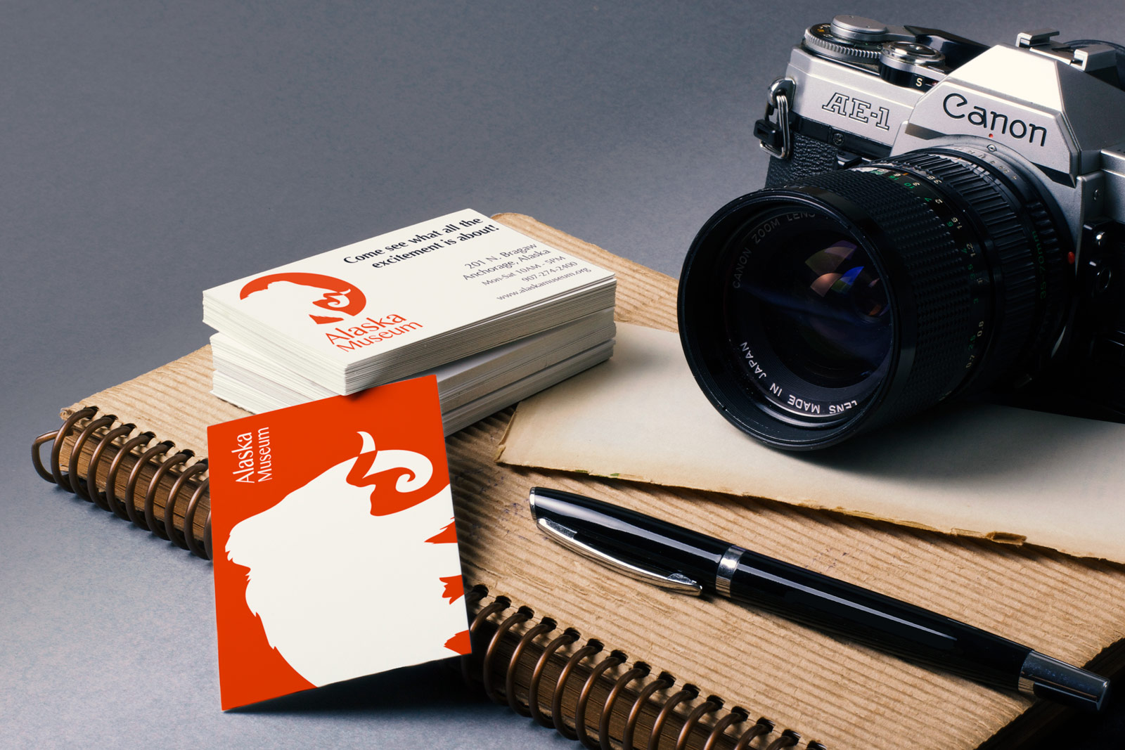 business cards and camera
