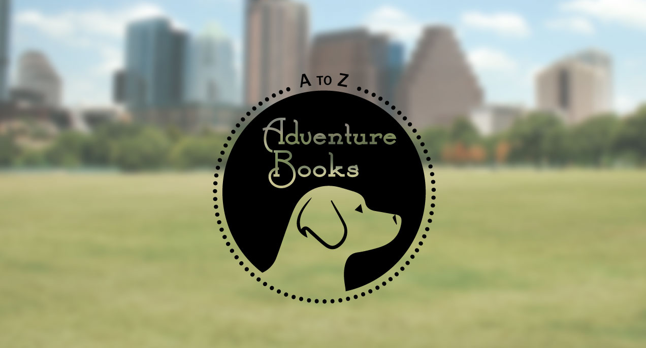a to z adventure books dog logo on a park