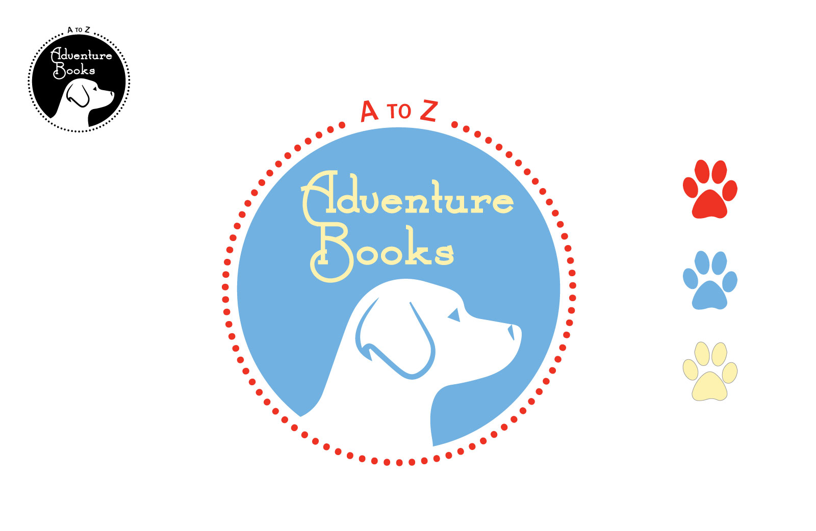 color and black a to z adventure books dog logo