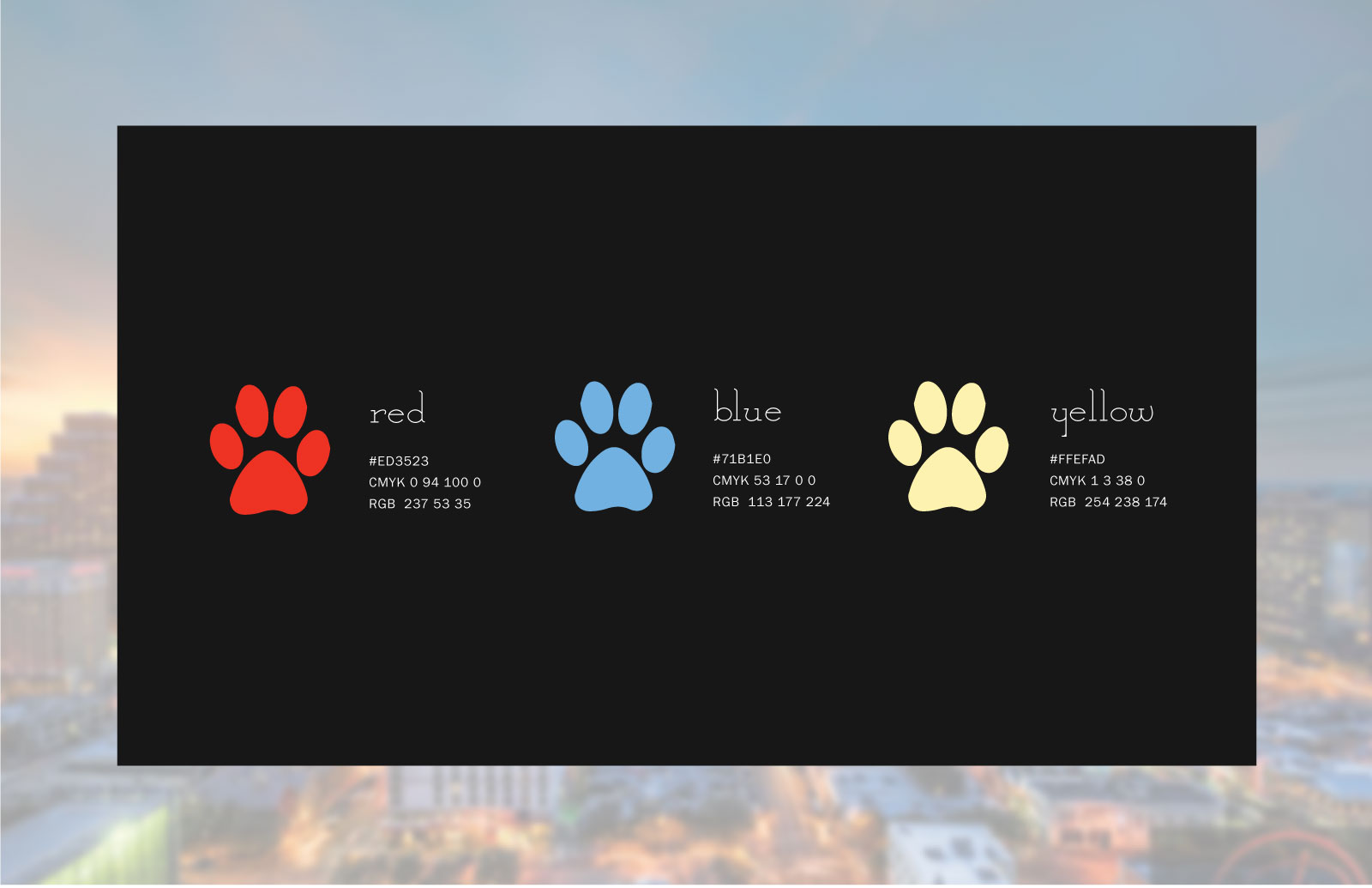 paw print color chart