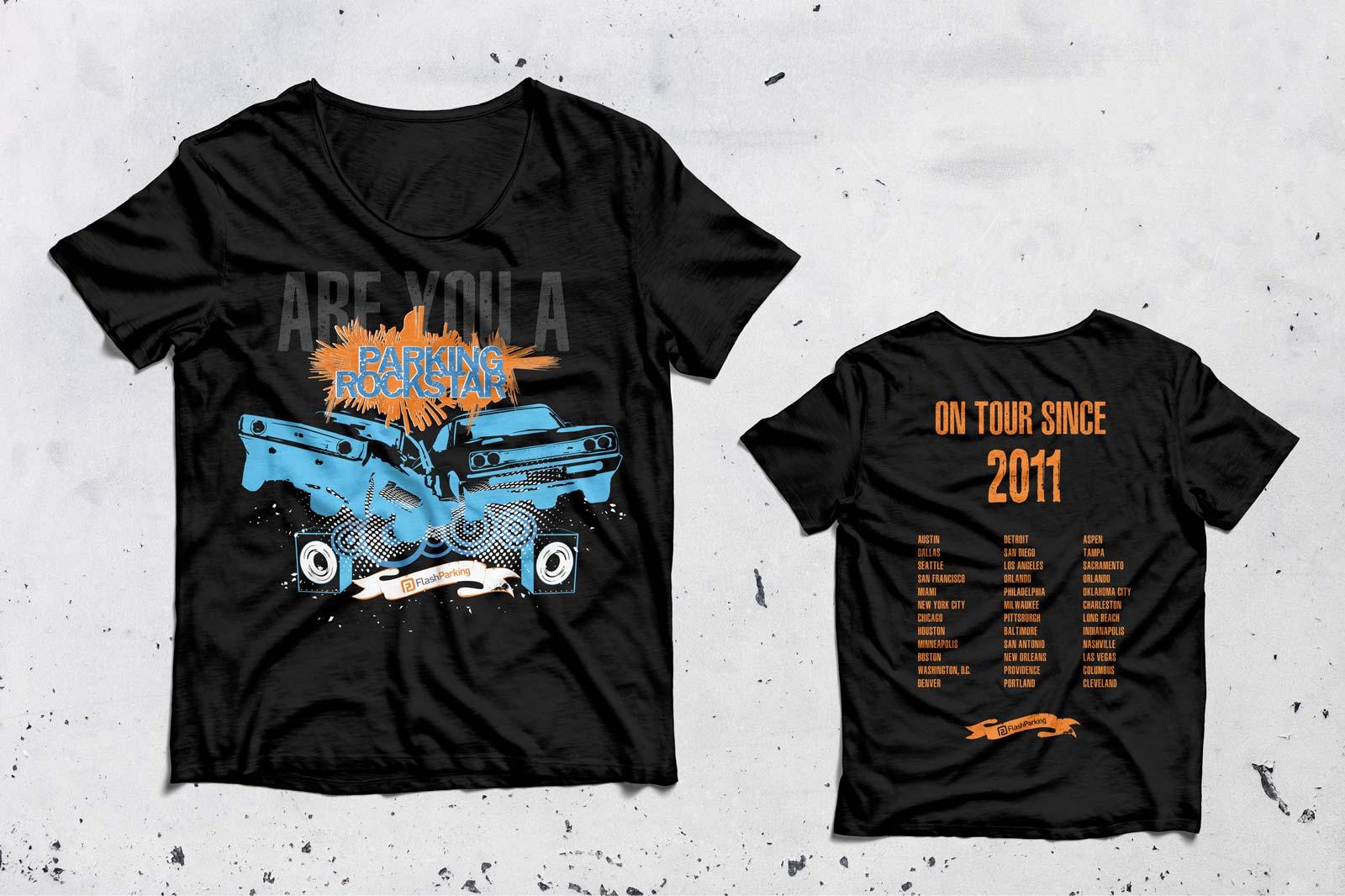 parking rockstar tee shirt designs front and back