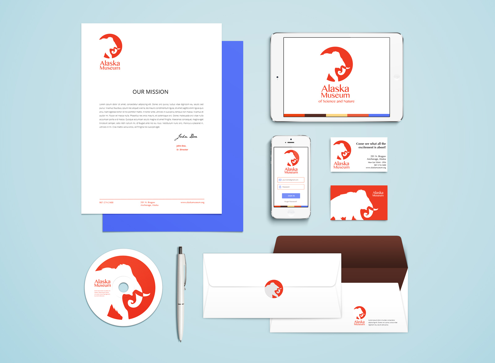 brand identity package with red mammoth