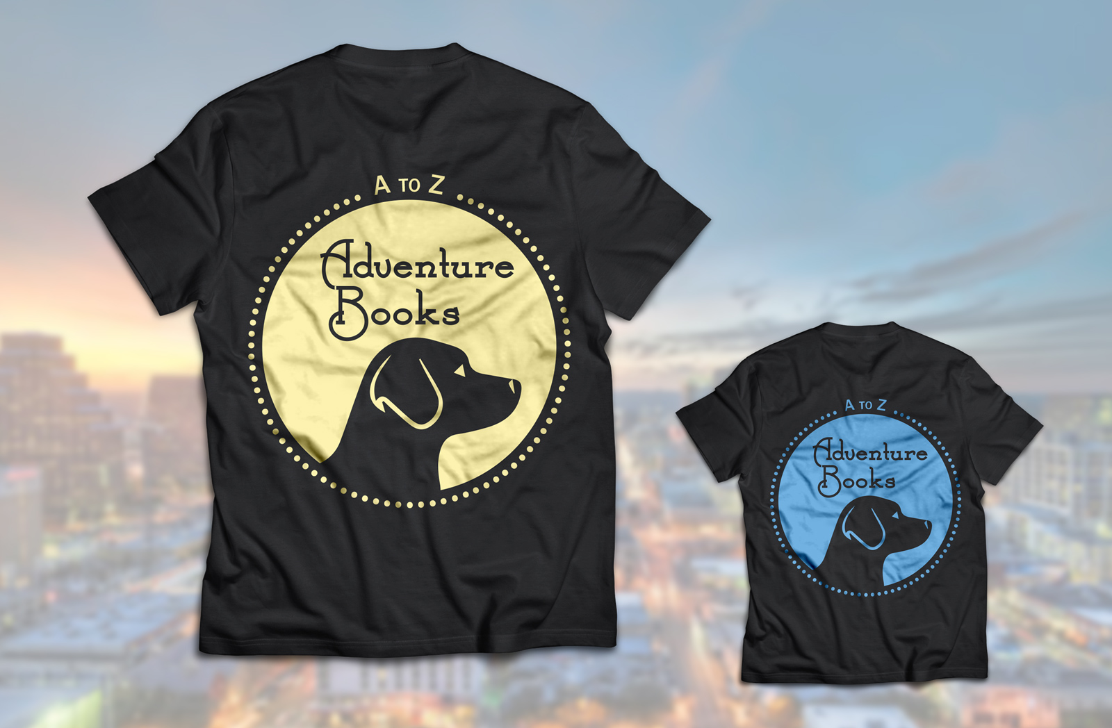 a to z adventure books dog logo on black t shirt