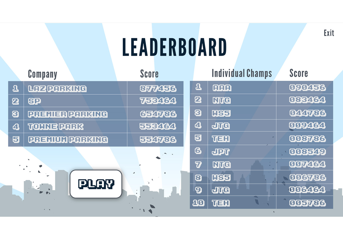 game leaderboard screen