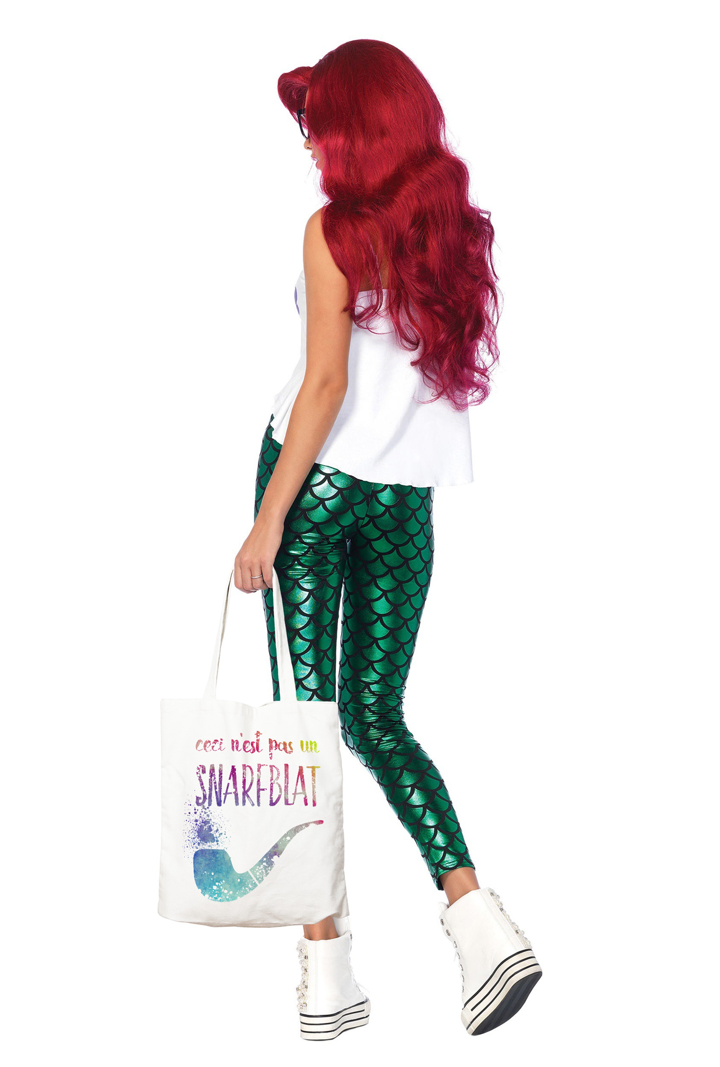hipster ariel costume with snarfblat tote bag swag