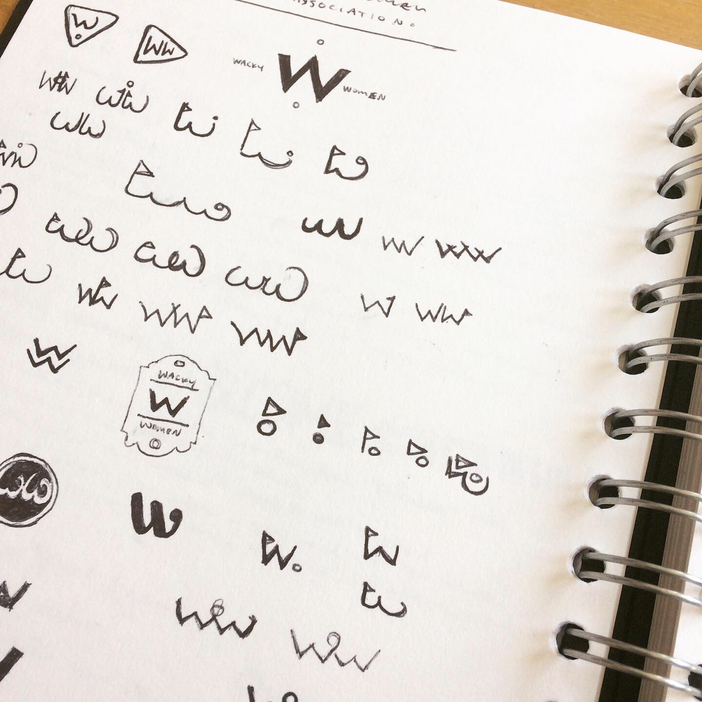 Sketchbook Concepts for Wacky Women Logo
