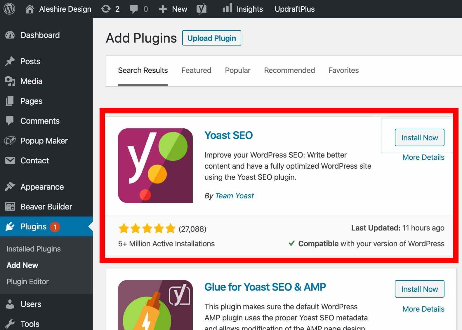screenshot of the install page for yoast seo in wordpress